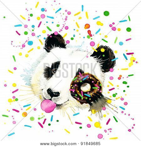 Funny Panda Bear watercolor illustration