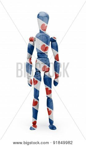 Wood Figure Mannequin With Flag Bodypaint - Friesland