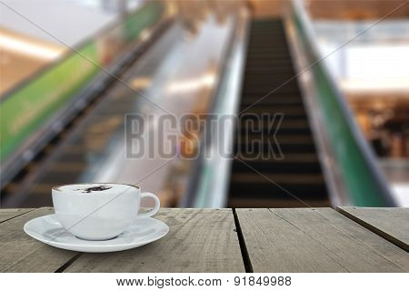 Defocus And Blur Background And Terrace Wood With Escalator In S
