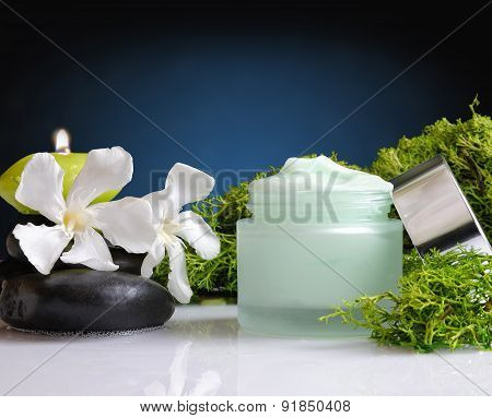 Cream Jar Algae Front View Blue Background