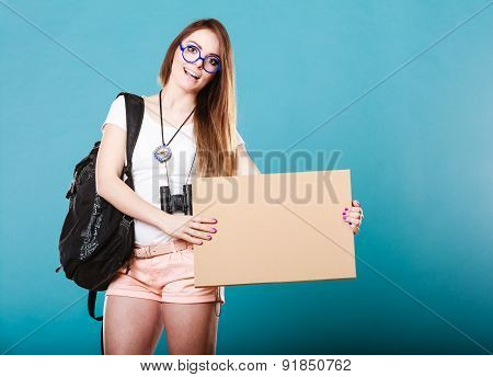 Woman Hitchhiking With Blank Sign For Your Text.