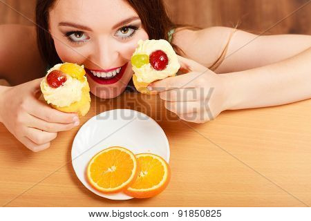 Woman Taking Delicious Sweet Cake. Gluttony.