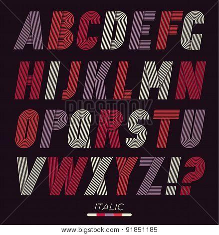 Retro Stripes Funky Fonts Set