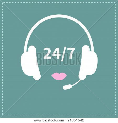 Headphones With Microphone Pink Lips Non Stop 24 7 Customer Service Support Operator Help Icon Flat