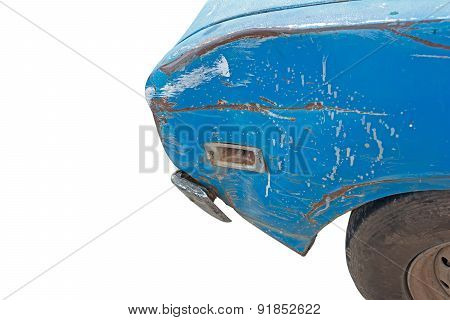 Old Rusty Wrecked Blue Car On Whit Background With Clipping Path