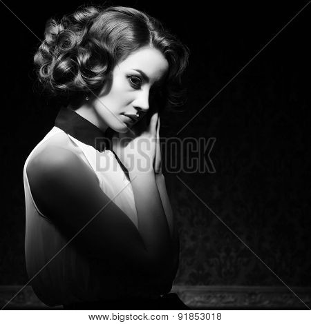 Beautiful Woman Black And White Vintage Image