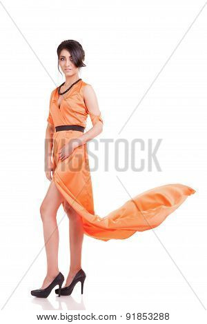 Sensual Woman In Cocktail Dress Full Body Isolated Over White