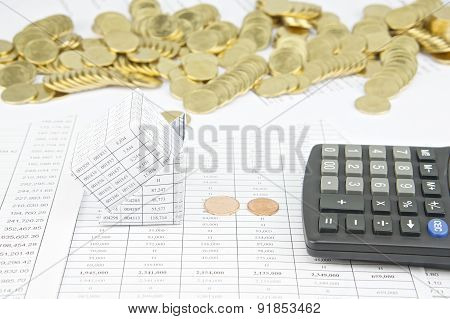 Bankruptcy Of House Have Stack Of Gold Coins As Background