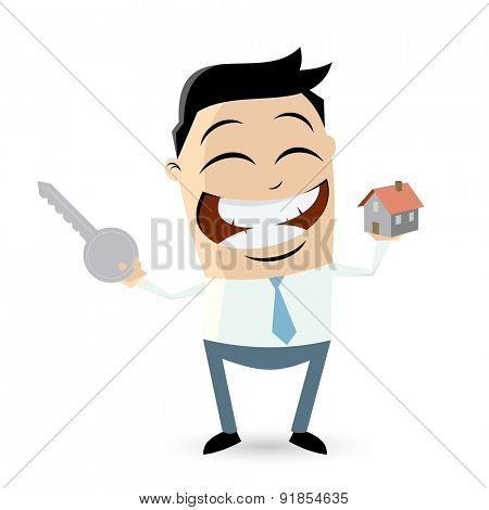 funny businessman with house and key
