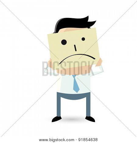 businessman is holding sad face sketch