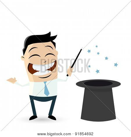 funny businessman with top hat and magic wand