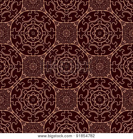 Vintage Pattern With Oriental Round Ornaments