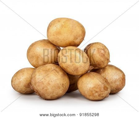 Heap Of Young Potatoes Isolated On White Background