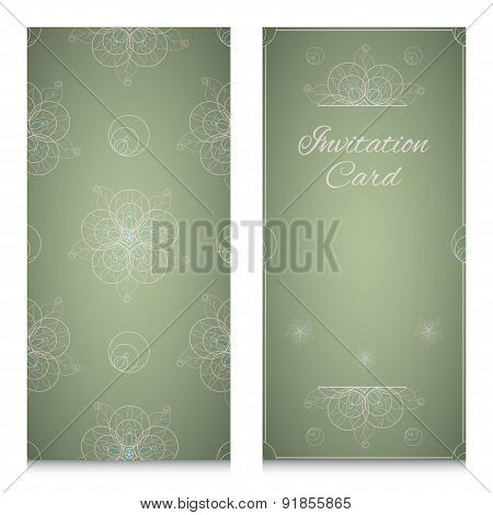 Invitation Card With Ornamental Geometric Floral Pattern
