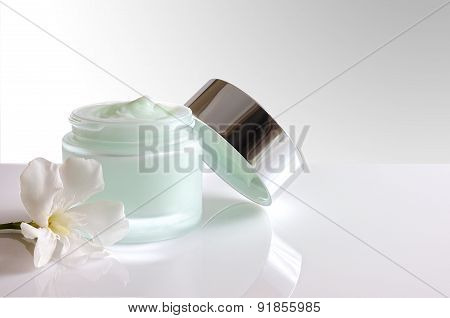 Cream Jar Open With Lid Front View Isolated