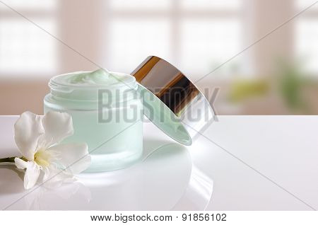 Cream Jar Open With Lid Front View Windows Background
