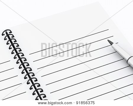 3d Notepad with pen.