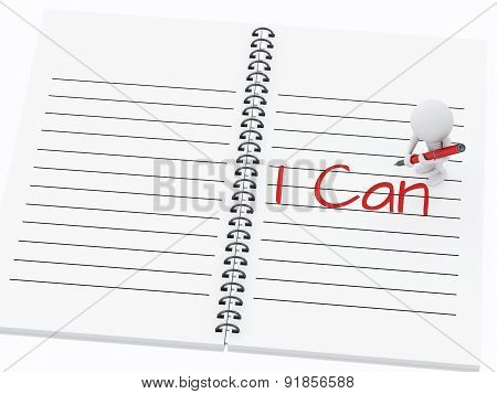 3d white people writing I can on notebook page.