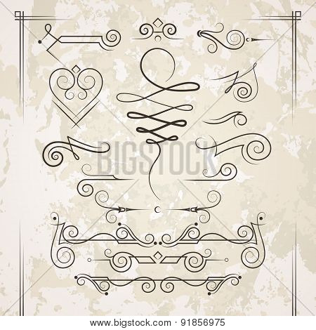 Vector set of elegant curls and swirls. Elements for design