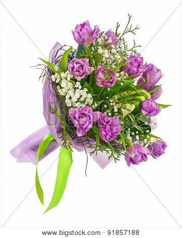 Bouquet Of Lilac Tulips And Other Flowers.