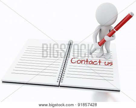3d white people writing Contact us on notebook page.