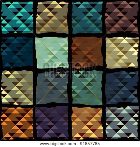 Geometric pateern of triangles in patchwork style.