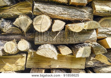 Cutted wood for fireplace. Color image