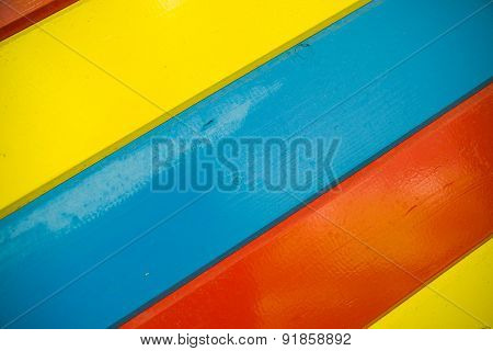 Some Bright Multi-colored Wooden Planks Arranged Diagonally