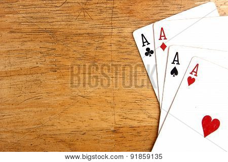 Four aces of a playing card deck