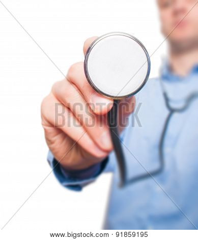 Male doctor working with stethoscope in his hand.