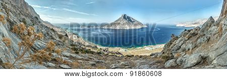 Panoramic Autumn Day View Out To Telendos Island From The North Side Of Kalymnos Island High Up Abov