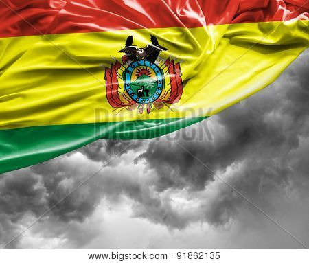 Bolivian waving flag on a bad day