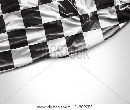 Checkered flag on white background