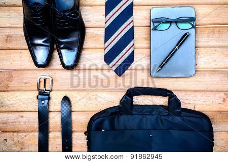 Men Accessories On Old Wooden, Business Themes