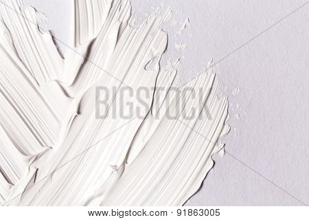 Paint Brush Stroke Over The White Paper