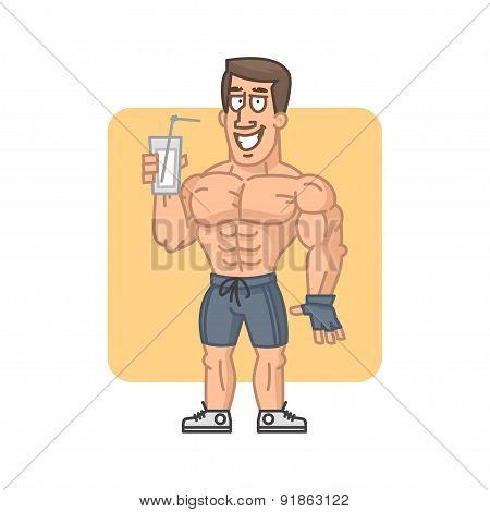 Bodybuilder holding glass cocktail protein