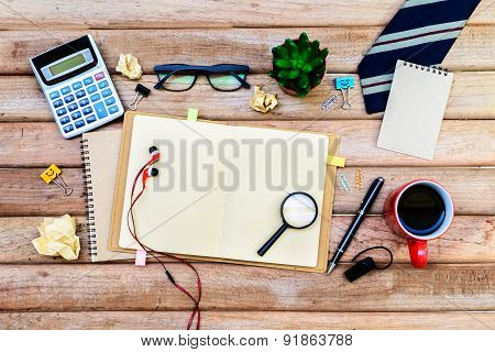 Office Supply And Cup Of Coffee On Desk, Workplace