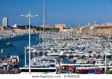 Old Port Full Of Boats And Yachts,marseille.