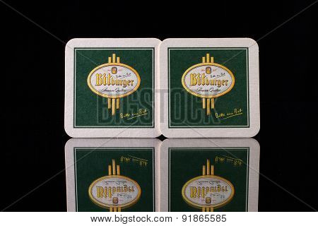 Beermats from Bitburger beer