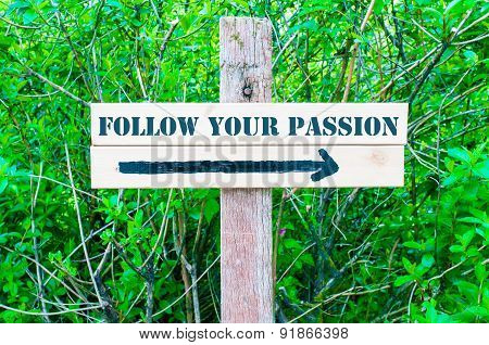 Follow Your Passion Directional Sign