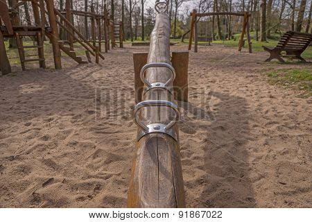 Silver seesaw on a playground