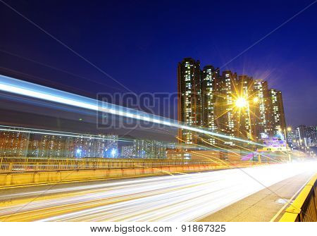 Fast moving traffic in city