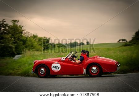 old car TRIUMPH  TR3 Sports  1956   mille miglia 2015