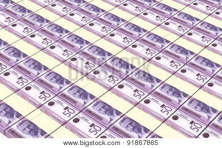 Serbian dinar bills stacks background.