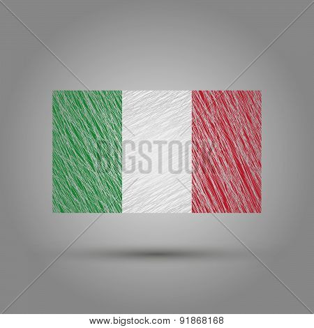 Flag of Italy. Scratched texture.