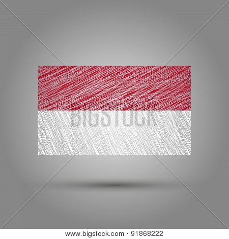 Flag of Indonesia. Grunge texture.