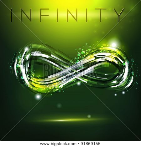 Infinity Symbol At Dark Green Background