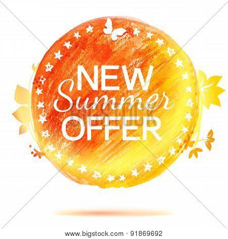 New Summer Offer Pencil Drawing Label