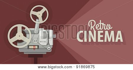 Retro movie projector for old films show. Eps10 vector illustration
