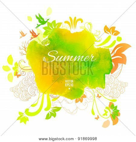 Summer Artistic Abstract Sketch Watercolor Label